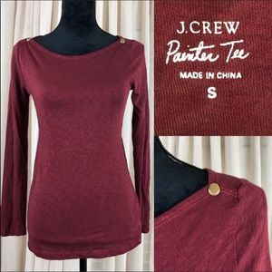 J CREW Painter tee. Burgundy with snap detailing